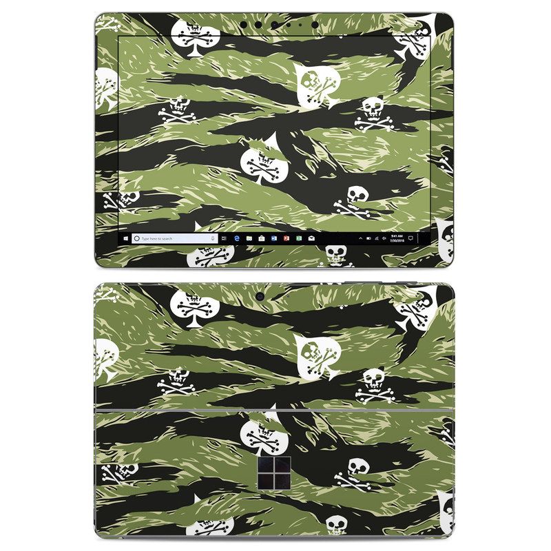 Microsoft Surface Go Skin design of Military camouflage, Pattern, Leaf, Illustration, Design, Tree, Camouflage, Plant, Art, Branch with black, white, green colors