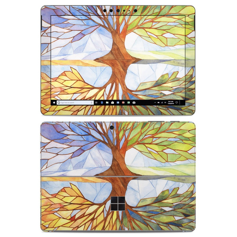 Microsoft Surface Go Skin design of Leaf, Tree, Botany, Plant, Symmetry, Art, Pattern, Painting, Plant stem, Plane with blue, brown, orange, yellow, red, purple colors