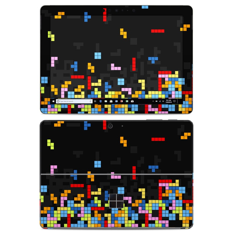 Microsoft Surface Go Skin design of Pattern, Symmetry, Font, Design, Graphic design, Line, Colorfulness, Magenta, Square, Graphics with black, green, blue, orange, red colors