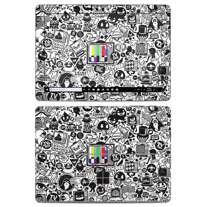 Microsoft Surface Go Skin design of Pattern, Drawing, Doodle, Design, Visual arts, Font, Black-and-white, Monochrome, Illustration, Art with gray, black, white colors