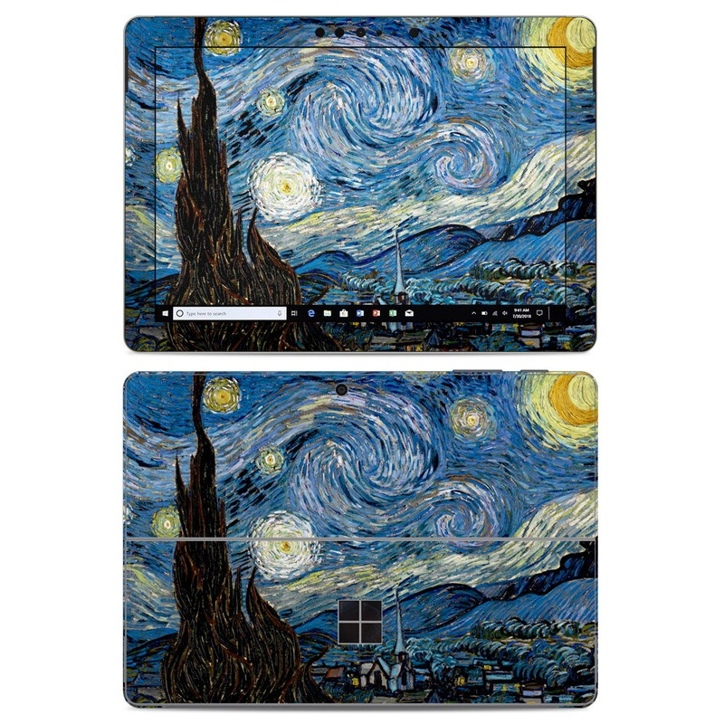 Microsoft Surface Go Skin design of Painting, Purple, Art, Tree, Illustration, Organism, Watercolor paint, Space, Modern art, Plant with gray, black, blue, green colors