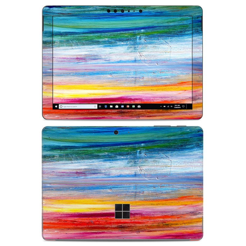 Microsoft Surface Go Skin design of Sky, Painting, Acrylic paint, Modern art, Watercolor paint, Art, Horizon, Paint, Visual arts, Wave with gray, blue, red, black, pink colors
