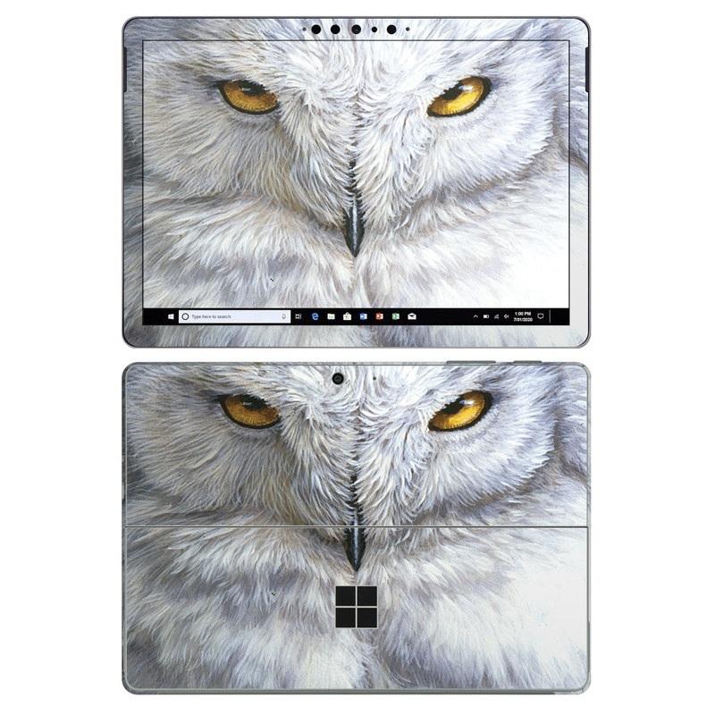 Microsoft Surface Go 2 Skin design of Owl, Bird, Bird of prey, Snowy owl, great grey owl, Close-up, Eye, Snout, Wildlife, Eastern Screech owl with gray, white, black, blue, purple colors