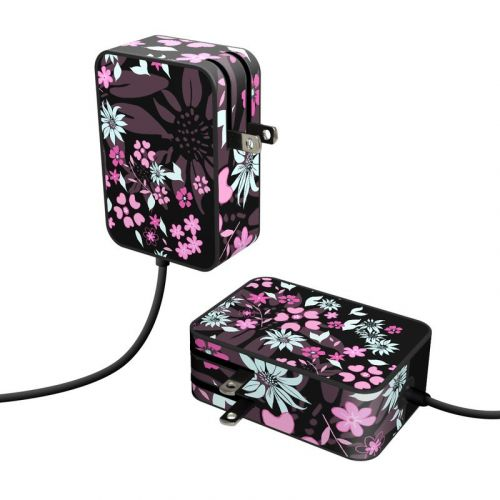 Dark Flowers Microsoft Surface Go Power Supply Skin
