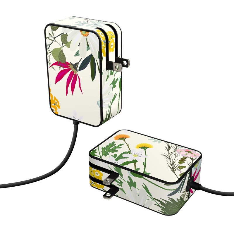 Microsoft Surface Go Power Supply Skin design of Flower, Wildflower, chamomile, Floral design, Plant, camomile, Botany, Clip art, Cut flowers, Daisy with white, green, pink, orange, yellow, red colors