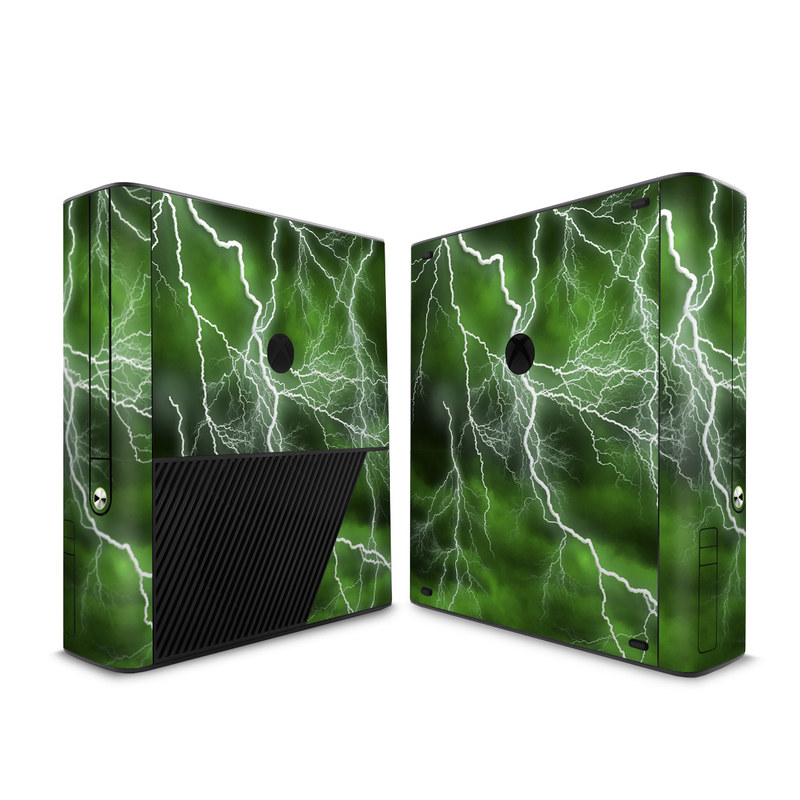 Xbox 360 E Skin design of Thunderstorm, Thunder, Lightning, Nature, Green, Water, Sky, Atmosphere, Atmospheric phenomenon, Daytime with green, black, white colors