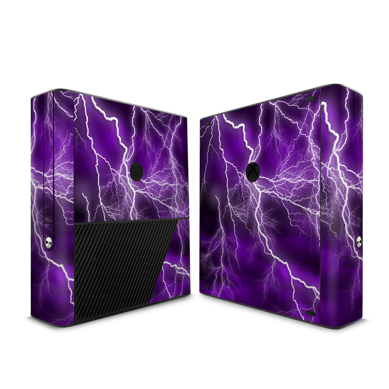 Xbox 360 E Skin design of Thunder, Lightning, Thunderstorm, Sky, Nature, Purple, Violet, Atmosphere, Storm, Electric blue with purple, black, white colors