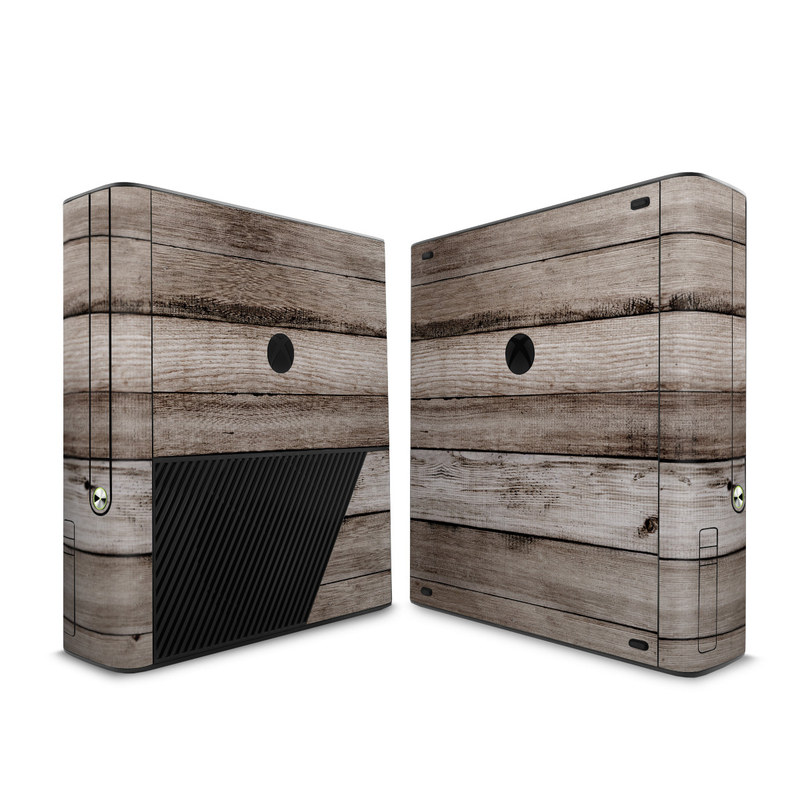 Xbox 360 E Skin design of Wood, Plank, Wood stain, Hardwood, Line, Pattern, Floor, Lumber, Wood flooring, Plywood with brown, black colors