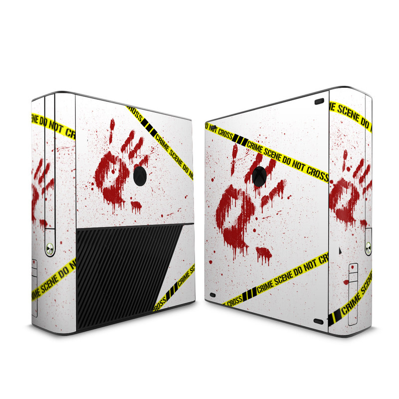 Xbox 360 E Skin design of Text, Font, Red, Graphic design, Logo, Graphics, Brand, Banner with white, red, yellow, black colors