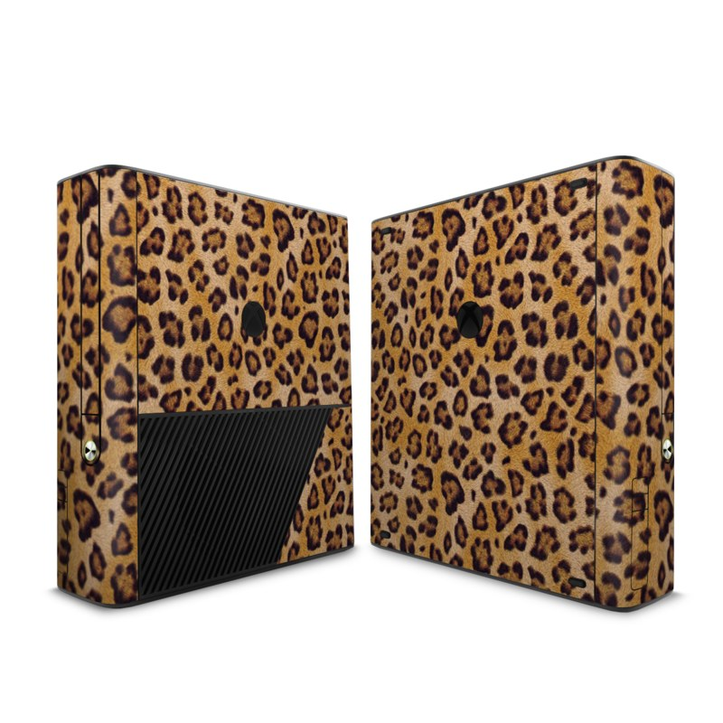 Xbox 360 E Skin design of Pattern, Felidae, Fur, Brown, Design, Terrestrial animal, Close-up, Big cats, African leopard, Organism with orange, black colors