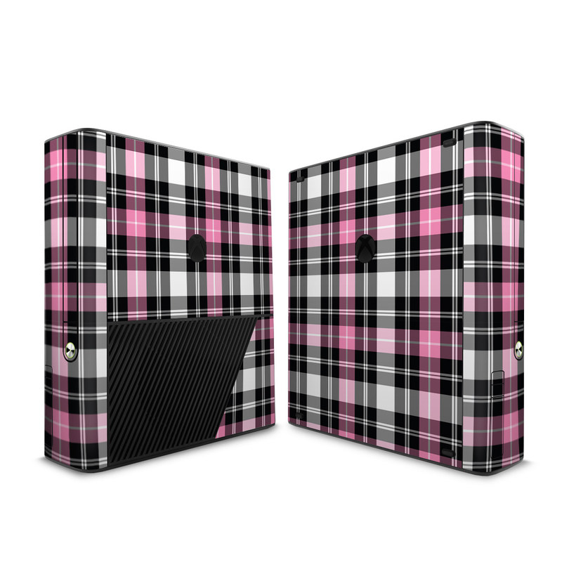 Xbox 360 E Skin design of Plaid, Tartan, Pattern, Pink, Purple, Violet, Line, Textile, Magenta, Design with black, gray, pink, red, white, purple colors