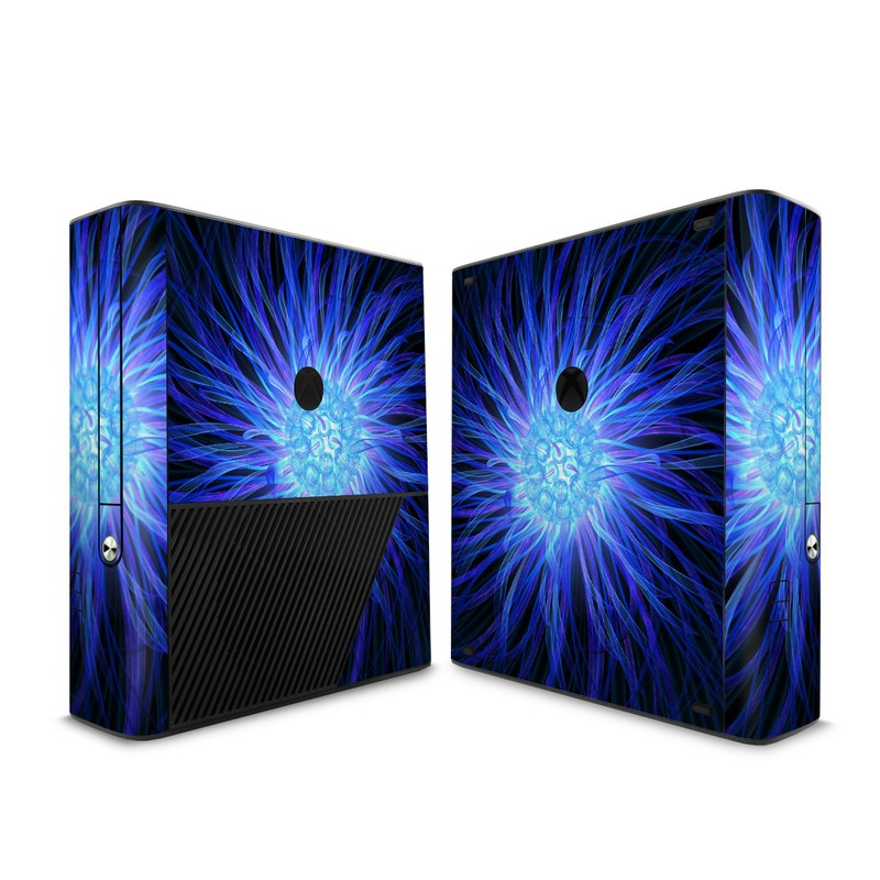 Xbox 360 E Skin design of Blue, Electric blue, Fractal art, Light, Purple, Water, Organism, Art, Symmetry, Graphics with blue, black, purple colors