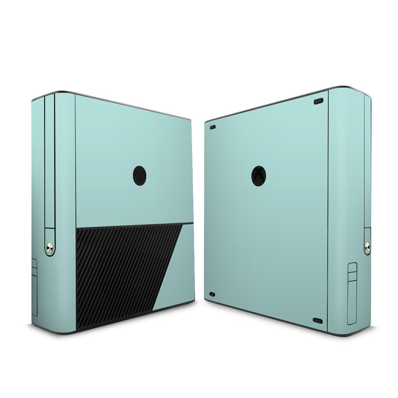 Xbox 360 E Skin design of Green, Blue, Aqua, Turquoise, Teal, Azure, Text, Daytime, Yellow, Sky with blue colors