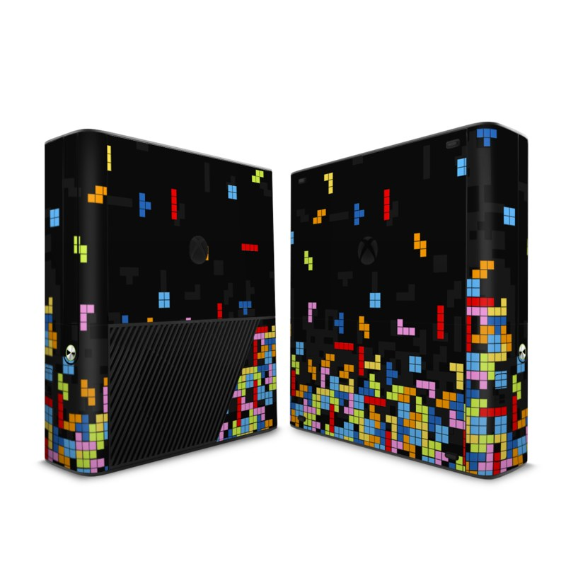 Xbox 360 E Skin design of Pattern, Symmetry, Font, Design, Graphic design, Line, Colorfulness, Magenta, Square, Graphics with black, green, blue, orange, red colors