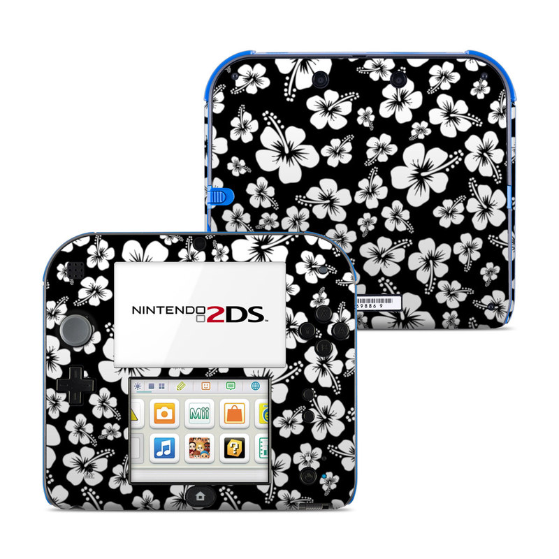 Nintendo 2DS Skin design of Black-and-white, Pattern, Monochrome photography, Monochrome, Petal, Flower, Plant, Wildflower, Design, Leaf with black, white colors