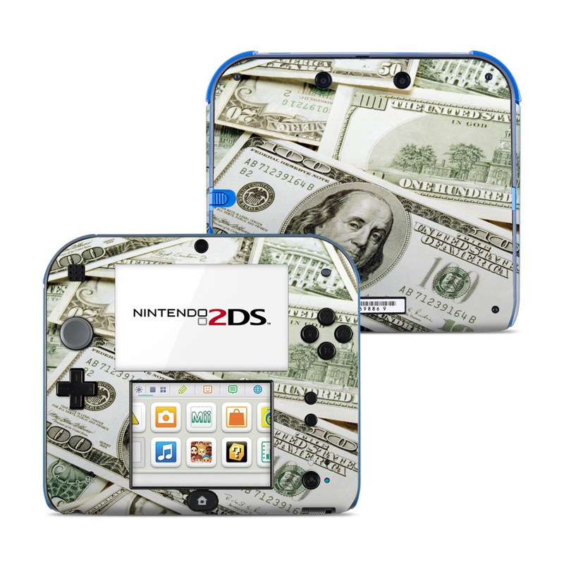 Nintendo 2DS Skin design of Money, Cash, Currency, Banknote, Dollar, Saving, Money handling, Paper, Stock photography, Paper product with green, white, black, gray colors
