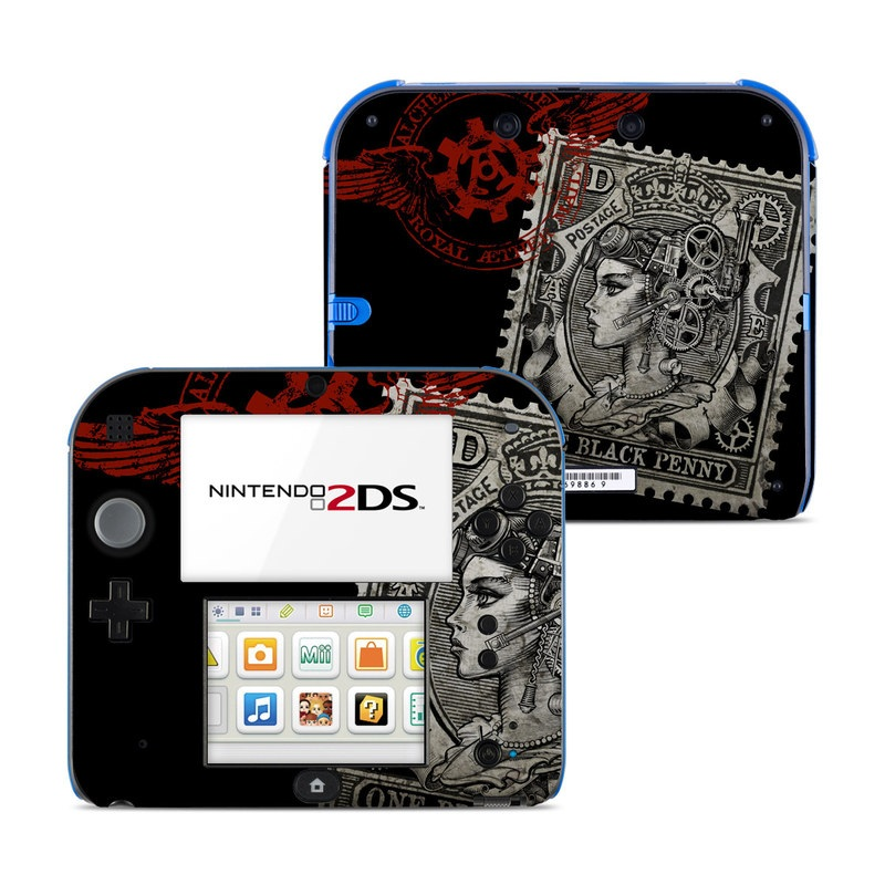 Nintendo 2DS Skin design of Font, Postage stamp, Illustration, Drawing, Art with black, gray, red colors