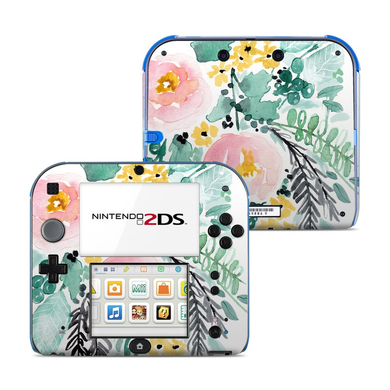 Nintendo 2DS Skin design of Branch, Clip art, Watercolor paint, Flower, Leaf, Botany, Plant, Illustration, Design, Graphics with green, pink, red, orange, yellow colors