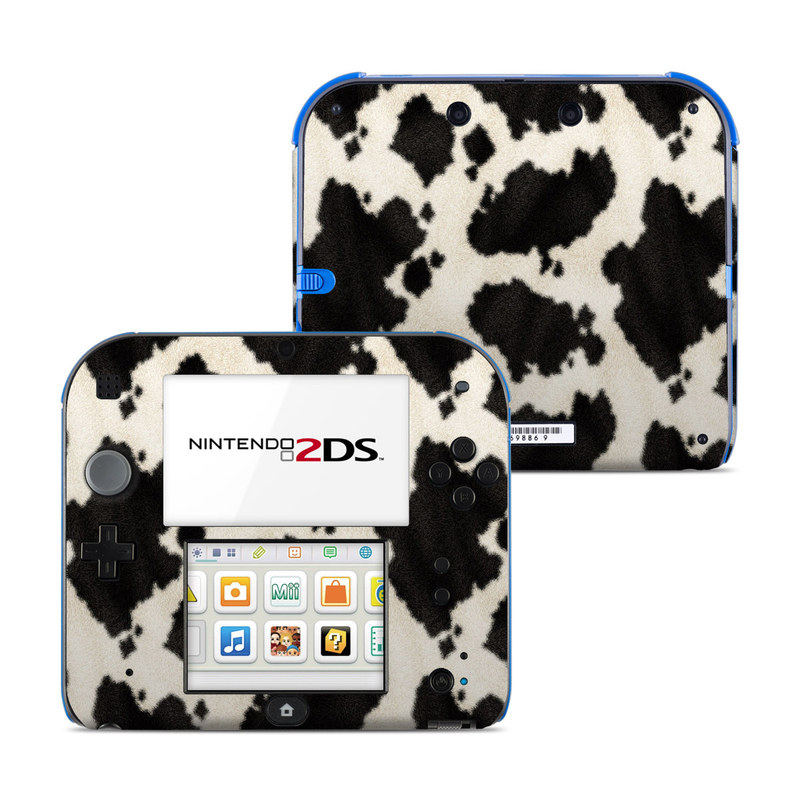 Nintendo 2DS Skin design of Black, Fur, Textile, Pattern, Hide, Fawn with black, white colors