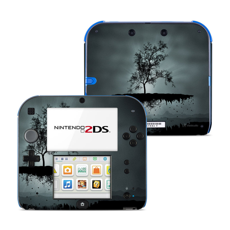 Nintendo 2DS Skin design of Reflection, Sky, Nature, Water, Black, Tree, Black-and-white, Monochrome photography, Natural landscape, Atmospheric phenomenon with black, gray, blue colors