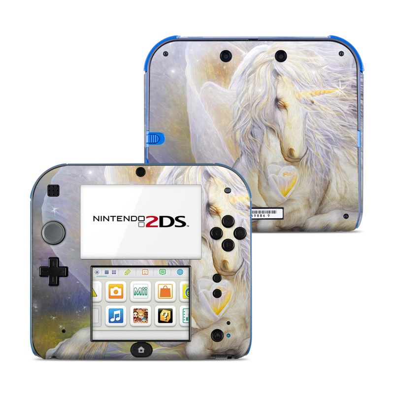 Nintendo 2DS Skin design of Fictional character, Mythical creature, Unicorn, Sky, Mythology, Supernatural creature, Illustration with gray, black, green, pink, blue colors