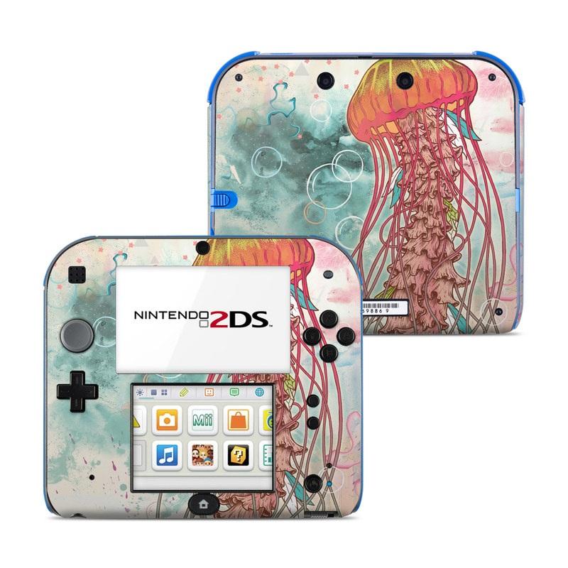 Nintendo 2DS Skin design of Jellyfish, Illustration, Water, Cnidaria, Marine invertebrates, Organism, Portuguese man o' war, Art, Nepenthes, Invertebrate with gray, pink, yellow, red, green colors