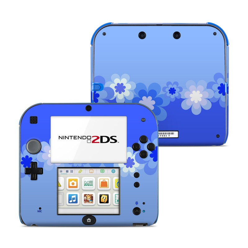 Retro Blue Flowers Nintendo 2DS Skin