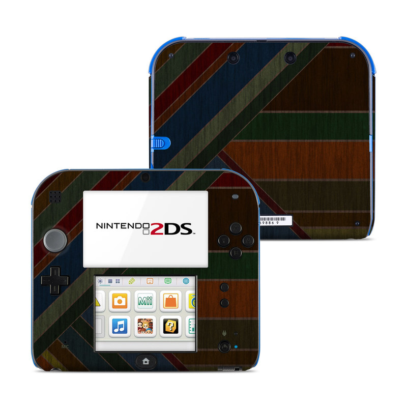 Nintendo 2DS Skin design of Blue, Orange, Red, Line, Brown, Pattern, Maroon, Design, Textile, Tints and shades with black colors