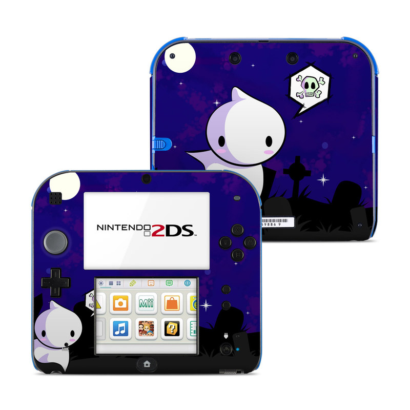Nintendo 2DS Skin design of Cartoon, Violet, Blue, Purple, Illustration, Animated cartoon, Sky, Graphic design, Space, Clip art with black, blue, white, gray, purple colors