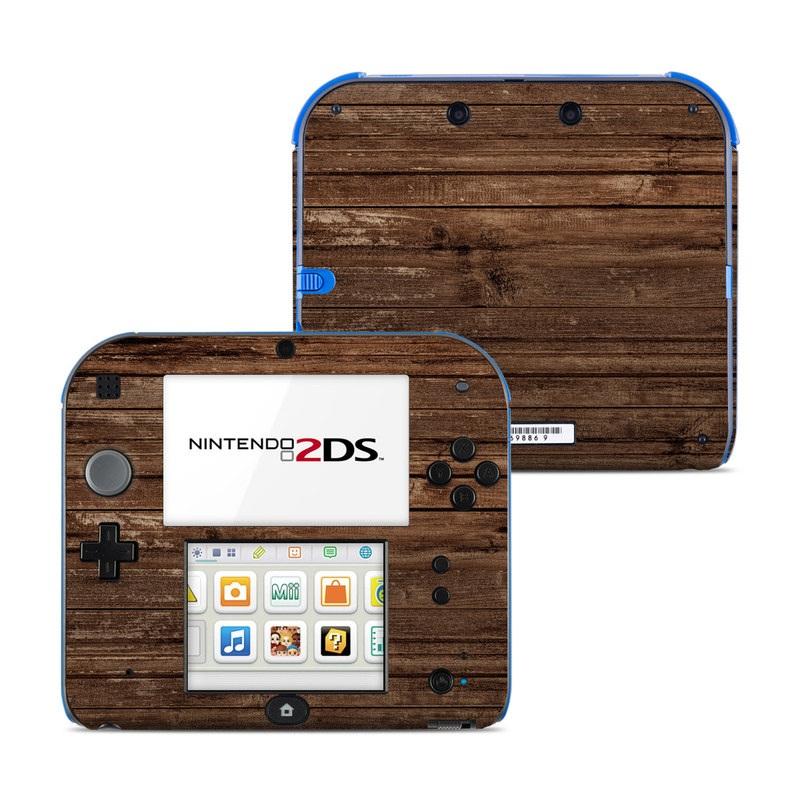 Nintendo 2DS Skin design of Wood, Brown, Wood stain, Plank, Hardwood, Wood flooring, Line, Pattern, Floor, Flooring with brown colors