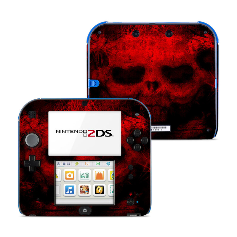 Nintendo 2DS Skin design of Red, Skull, Bone, Darkness, Mouth, Graphics, Pattern, Fiction, Art, Fractal art with black, red colors