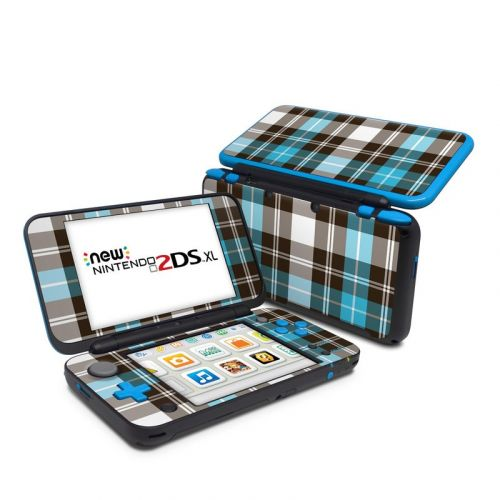 Turquoise Plaid Nintendo 2DS XL Skin