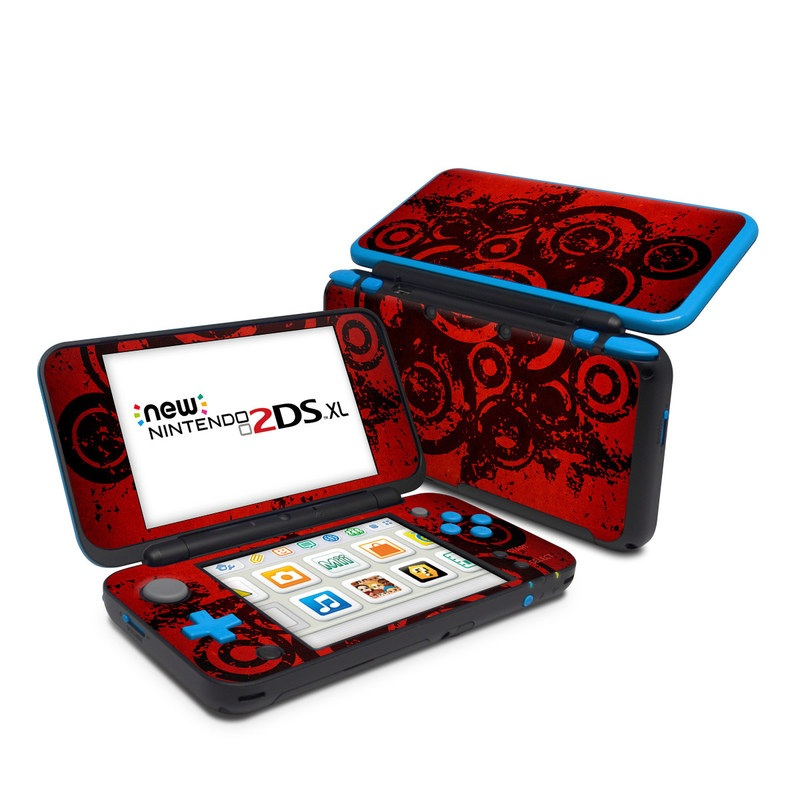 Nintendo 2DS XL Skin design of Red, Circle, Pattern, Design, Visual arts, Font, Graphics, Graphic design, Art, Still life photography with red, black colors