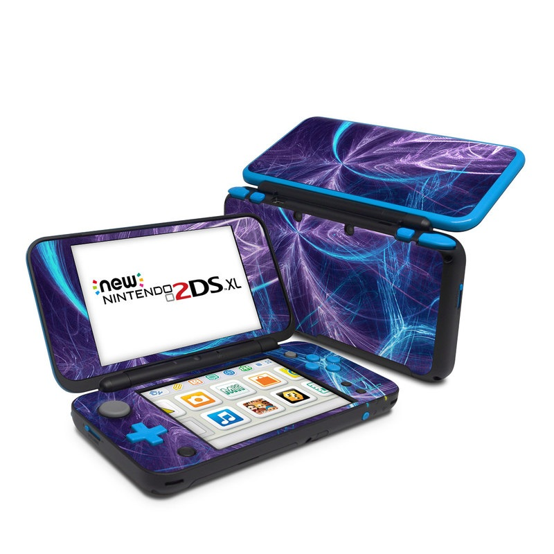 Nintendo 2DS XL Skin design of Blue, Purple, Electric blue, Light, Water, Pattern, Fractal art, Line, Sky, Design with blue, black, gray, purple colors