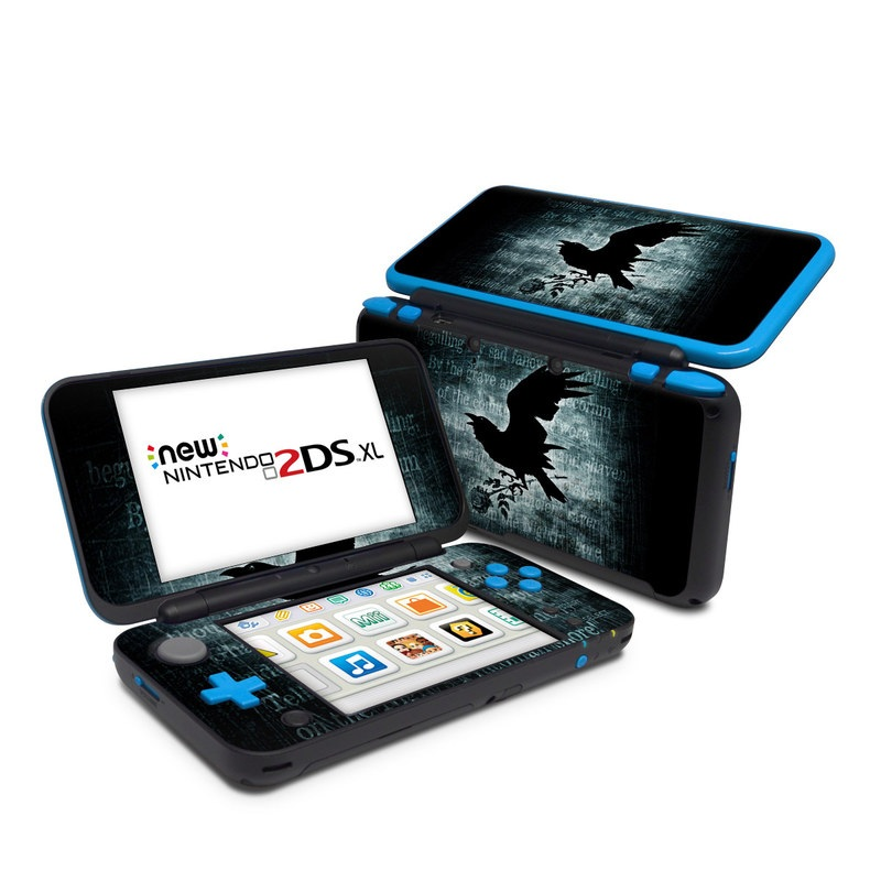 Nintendo 2DS XL Skin design of Bird, Text, Wing, Graphic design, Darkness, Font, Illustration, Graphics with black, white, blue colors