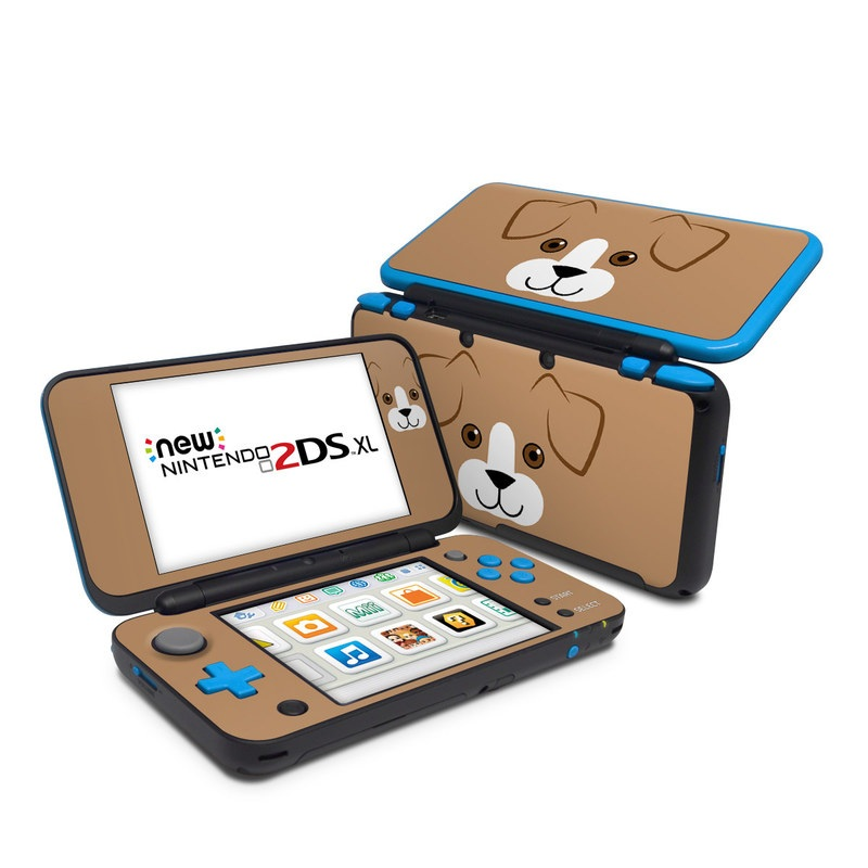 Nintendo 2DS XL Skin design of Cartoon, Canidae, Dog, Snout, Head, Nose, Puppy, Dog breed, Fawn, Carnivore with brown, white, black colors