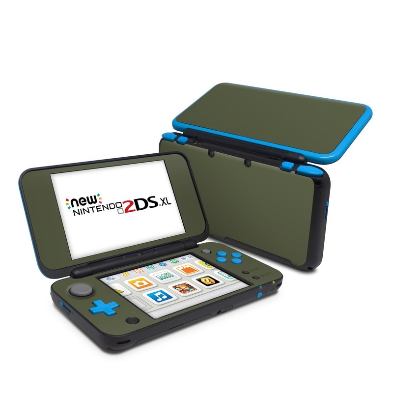 Nintendo 2DS XL Skin design of Green, Brown, Text, Yellow, Grass, Font, Pattern, Beige with green colors
