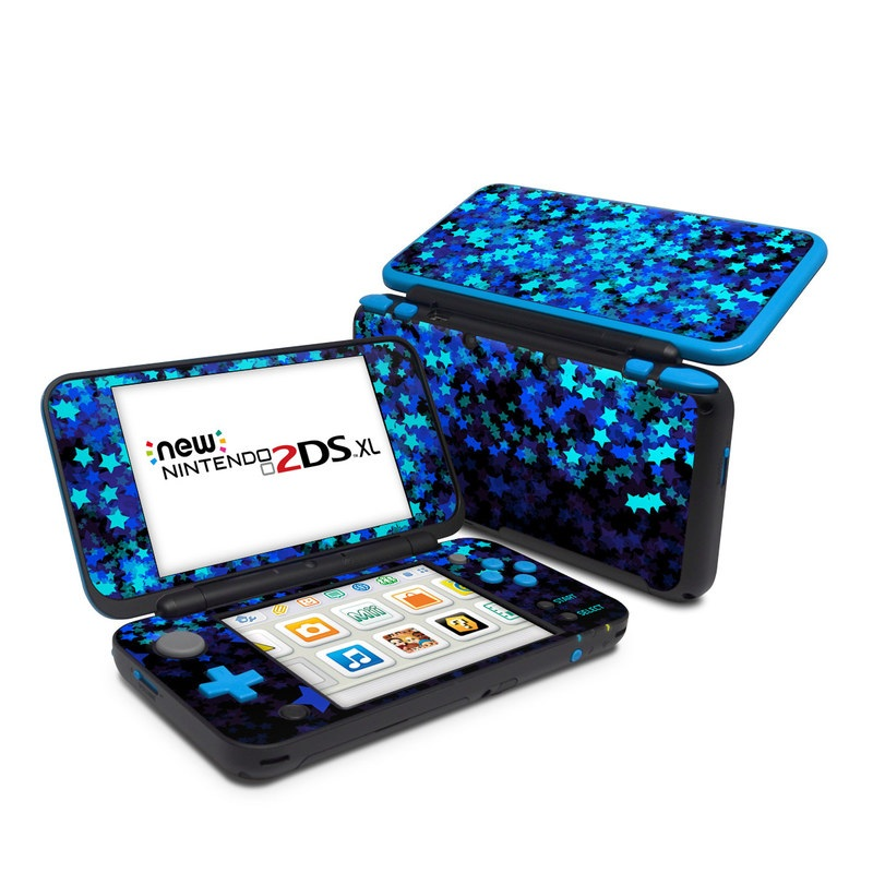 Nintendo 2DS XL Skin design of Blue, Green, Purple, Violet, Electric blue, Sky, Pattern, Design, Space, Fractal art with black, blue colors