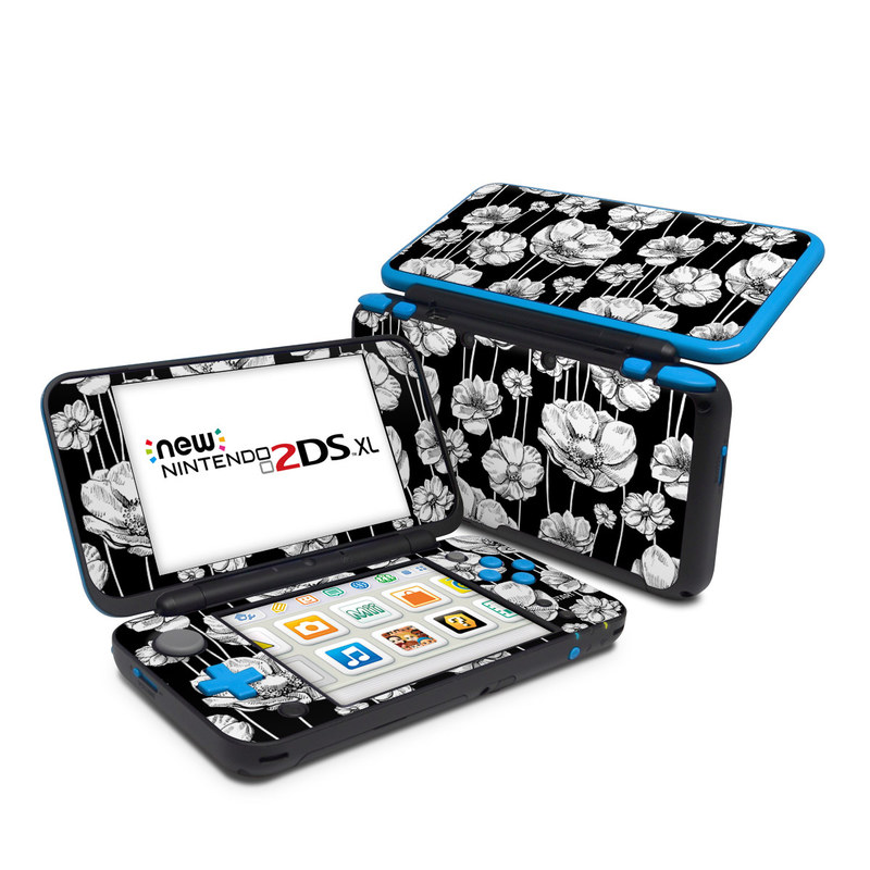 Nintendo 2DS XL Skin design of Flower, Black-and-white, Plant, Botany, Petal, Design, Wildflower, Monochrome photography, Pattern, Monochrome with black, gray, white colors