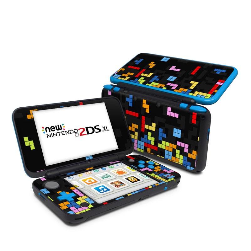 Nintendo 2DS XL Skin design of Pattern, Symmetry, Font, Design, Graphic design, Line, Colorfulness, Magenta, Square, Graphics with black, green, blue, orange, red colors