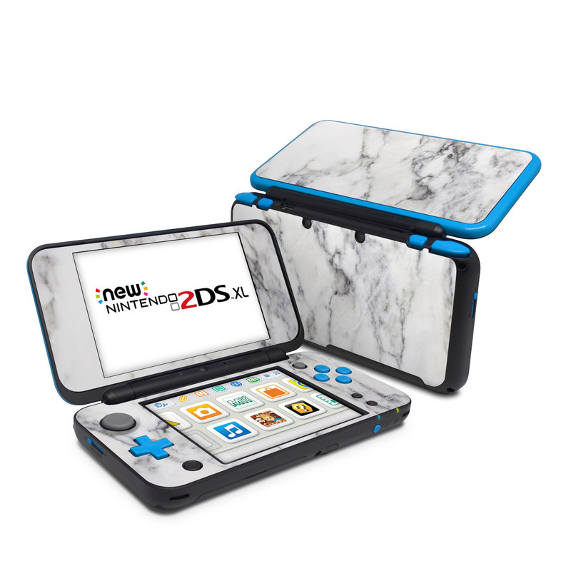 Nintendo 2DS XL Skin design of White, Geological phenomenon, Marble, Black-and-white, Freezing with white, black, gray colors