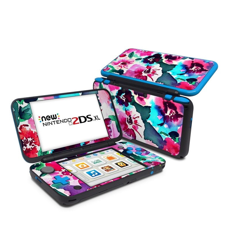 Nintendo 2DS XL Skin design of Flower, Pink, Petal, Plant, Pattern, Hawaiian hibiscus, Design, Magenta, Flowering plant, Watercolor paint with white, pink, blue, green, red colors