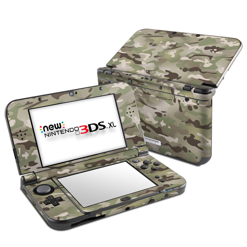 Nintendo 3DS XL Skin design of Military camouflage, Camouflage, Pattern, Clothing, Uniform, Design, Military uniform, Bed sheet with gray, green, black, red colors