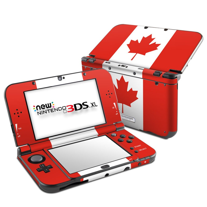 Nintendo 3DS XL Skin design of Red, Maple leaf, Tree, Leaf, Woody plant, Flag, Plant, Plane, Red flag, Maple with red, white colors
