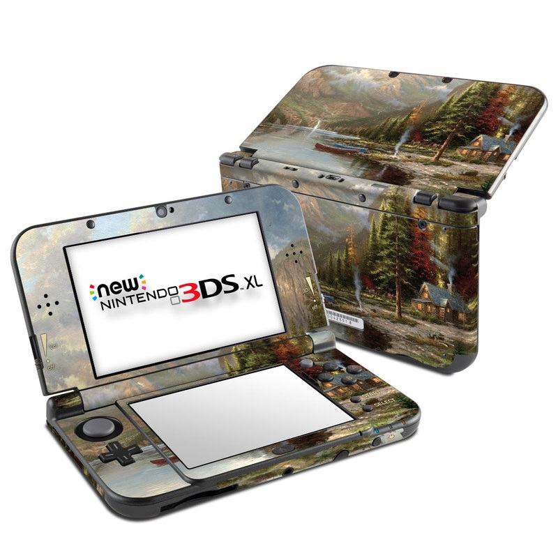 Nintendo 3DS XL Skin design of Natural landscape, Nature, Painting, Tree, Landscape, Biome, Sky, Watercolor paint, Forest, Reflection with black, gray, green, red colors