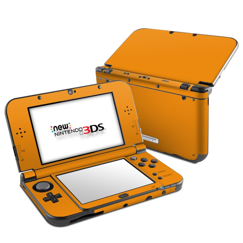 Nintendo 3DS XL Skin design of Orange, Yellow, Brown, Text, Amber, Font, Peach with orange colors