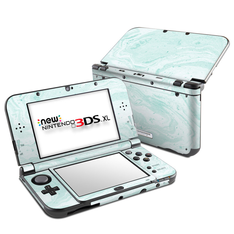 Nintendo 3DS XL Skin design of White, Aqua, Pattern with green, blue colors