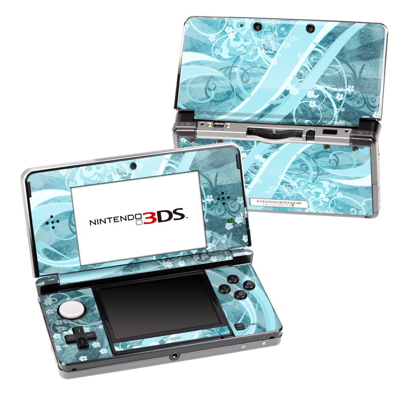 Nintendo 3DS Original Skin design of Aqua, Blue, Turquoise, Pattern, Teal, Text, Circle, Design, Graphic design, Wallpaper with gray, blue, purple colors