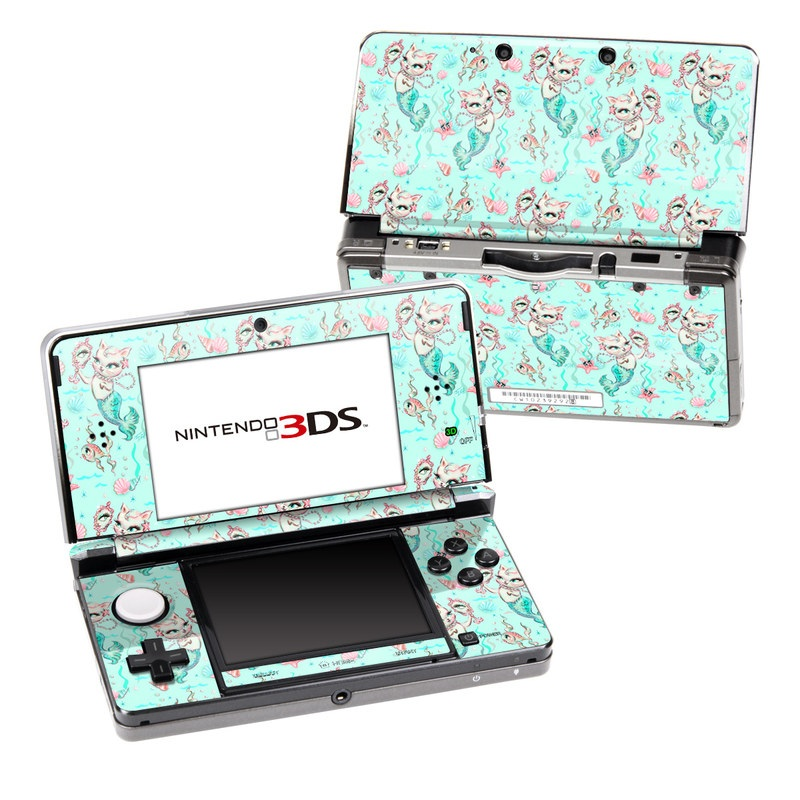 Nintendo 3DS Original Skin design of Green, Aqua, Pattern, Teal, Turquoise, Pink, Textile, Wrapping paper, Design with blue, pink, white, green colors