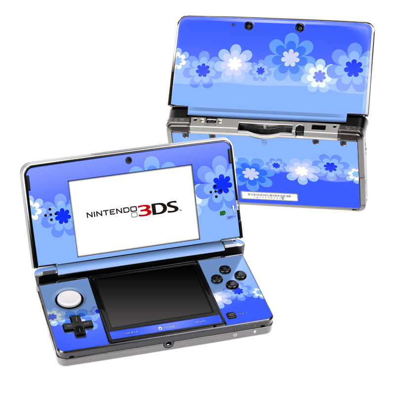 Retro Blue Flowers Nintendo 3DS (Original) Skin
